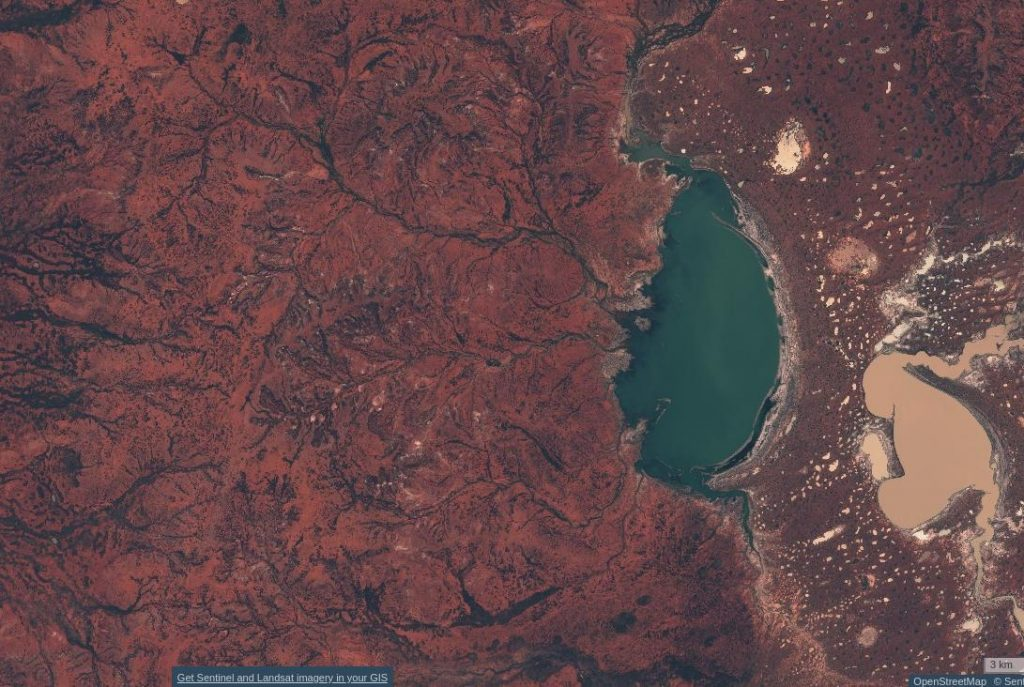 Kilcowera, Lake Wyara, Currawinya NP. From Sentinel-hub